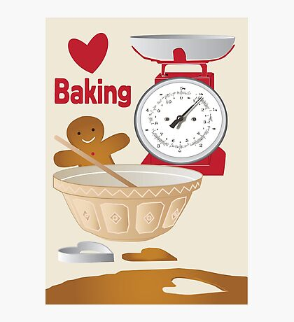 Love Baking Retro Style Poster Photographic Print