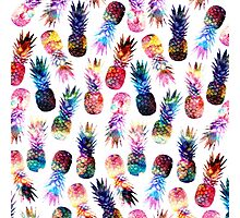 watercolor and nebula pineapples illustration pattern Photographic Print