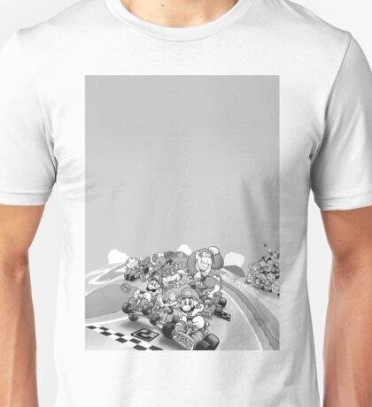 Mario Kart Extended illustration Black & White Unisex T-Shirt