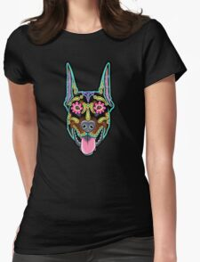 Doberman - Cropped Ear Edition - Day of the Dead Sugar Skull Dog Womens Fitted T-Shirt