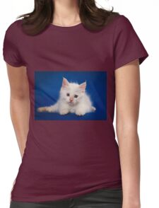 Fluffy charming cute kitty cat Womens Fitted T-Shirt