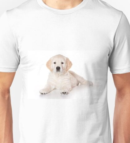Fluffy white puppy dog golden retriever labrador Unisex T-Shirt