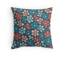 Cute blue and orange floral pattern Throw Pillow