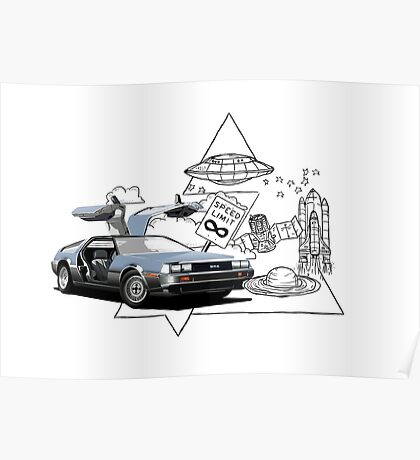DeLorean DMC-12 (silver) Poster