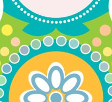 Russian doll matryoshka on white background, green and blue colors Sticker
