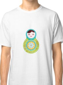 Russian doll matryoshka on white background, green and blue colors Classic T-Shirt