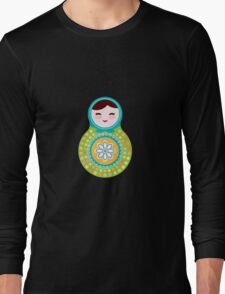 Russian doll matryoshka on white background, green and blue colors Long Sleeve T-Shirt