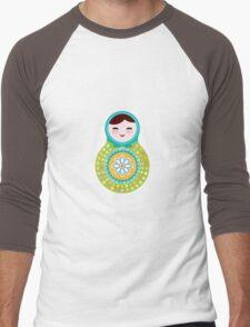 Russian doll matryoshka on white background, green and blue colors Men's Baseball ¾ T-Shirt