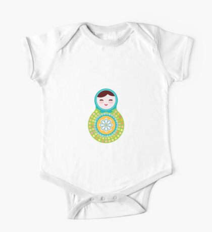 Russian doll matryoshka on white background, green and blue colors One Piece - Short Sleeve