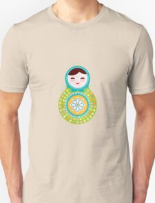 Russian doll matryoshka on white background, green and blue colors Unisex T-Shirt