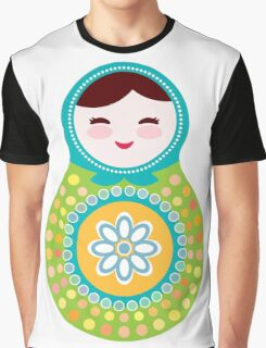 Russian doll matryoshka on white background, green and blue colors Graphic T-Shirt