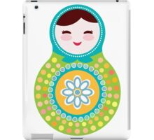 Russian doll matryoshka on white background, green and blue colors iPad Case/Skin