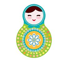 Russian doll matryoshka on white background, green and blue colors Photographic Print