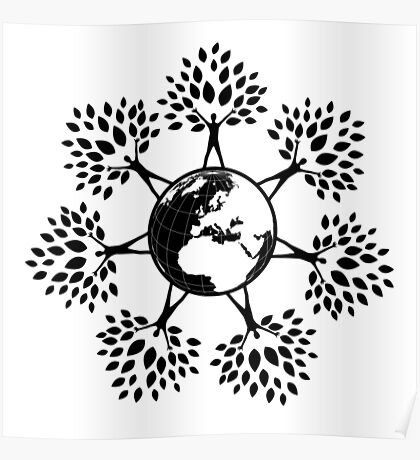 Earth Tree People (black) Poster