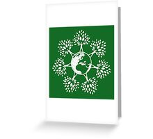 Earth Tree People (white) Greeting Card