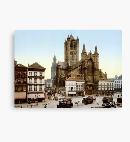 church-saint-nicholas-ghent-belgium Canvas Print