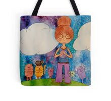 Meditation Girl and Friends Tote Bag