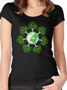 Earth Day Tree People (2c) Women's Fitted Scoop T-Shirt