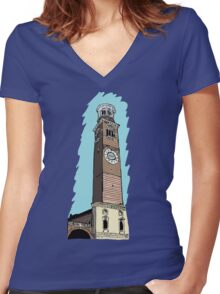 Lamberti Tower,Verona Women's Fitted V-Neck T-Shirt