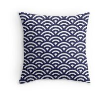 Japanese Waves Pattern Throw Pillow
