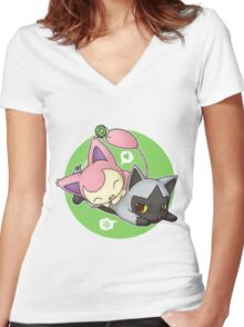 Skitty and Poochyena Women's Fitted V-Neck T-Shirt