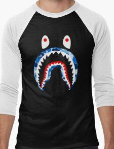 SHARK WITH BLUE CAMO Men's Baseball ¾ T-Shirt