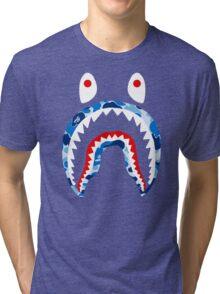 SHARK WITH BLUE CAMO Tri-blend T-Shirt