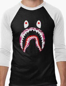 SHARK WITH PINK CAMO Men's Baseball ¾ T-Shirt
