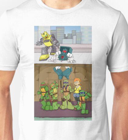 Tmnt and Transformers- crash landing Unisex T-Shirt