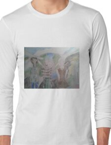 A spread of spring fashion outfits over planetary consciousness background Long Sleeve T-Shirt
