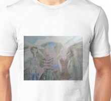 A spread of spring fashion outfits over planetary consciousness background Unisex T-Shirt