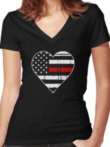 Thin Red Line Heart Shirt Logo Women's Fitted V-Neck T-Shirt