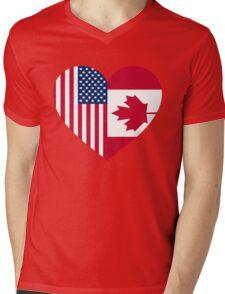 USA Canada flag heart Mens V-Neck T-Shirt