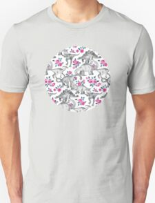 Dinosaurs and Roses – white T-Shirt
