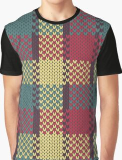 Faux Knit Plaid Graphic T-Shirt