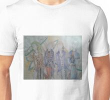 An assembly of elegant victorian steampunk outfits Unisex T-Shirt