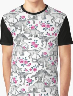 Dinosaurs and Roses – white Graphic T-Shirt