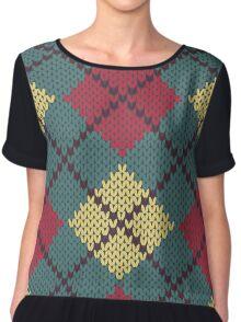 Retro Knit Argyle Chiffon Top