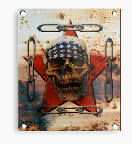 Rust USA SKULL Metal Print