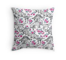 Dinosaurs and Roses – white Throw Pillow