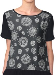 cute seamless doodle floral pattern Chiffon Top