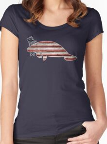 Patriotic, American Flag Manatee  Women's Fitted Scoop T-Shirt
