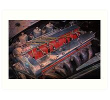 Retro urban auto engine. Art Print
