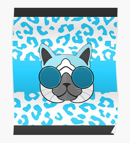Hipster Cat Turquoise Animal Print Poster