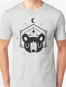 Moon Bear Geometric Design in Black Unisex T-Shirt