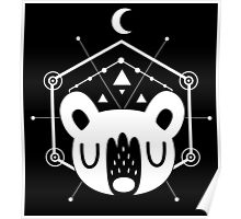 Moon Bear Geometric Design in White Poster