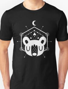 Moon Bear Geometric Design in White Unisex T-Shirt