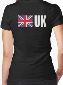 UK, United Kingdom, GREAT BRITAIN, GB, Union Jack, British Flag, ON BLACK Women's Fitted V-Neck T-Shirt