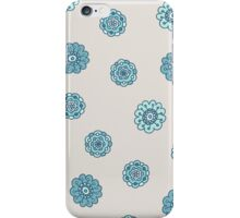 blue doodle floral seamless pattern iPhone Case/Skin