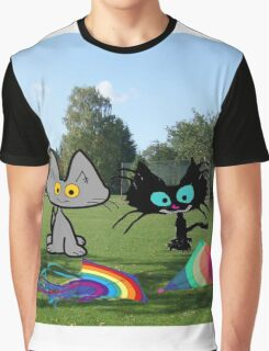 Cats With Colorful Kites Graphic T-Shirt